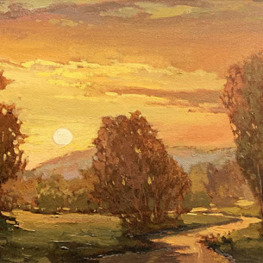 Jan Schmuckal Sunset on the Meadow 12x24 Oil on Canvas