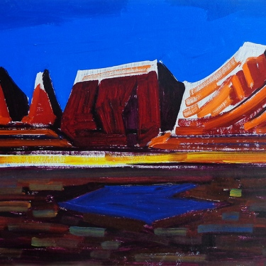 Conrad Buff Mountain View 16x24 oil on board Double Sided