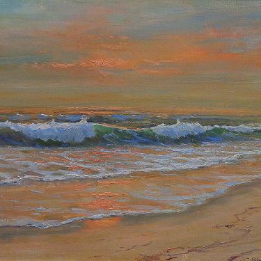 Robert Wood Laguna Sunset 16x20 oil on canvas