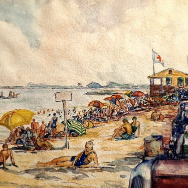Saul Kovner Sunday at the Beach 12x17 Watercolor