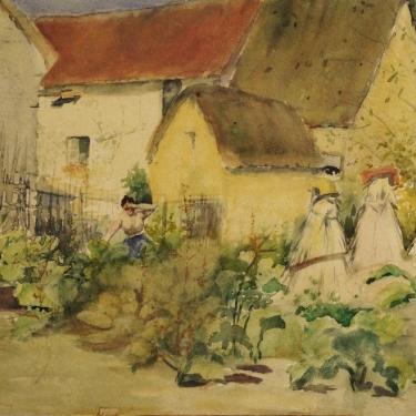 Ada Frances Lathrop Working in the Garden 9x12 Watercolor