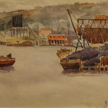 Adolphine Sutro Fullerton Docks San Francisco 7x10 Watercolor