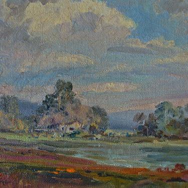Albert de Rome Elkhorn Slough near Moss Landing Monterey 6x8 Oil on Canvas