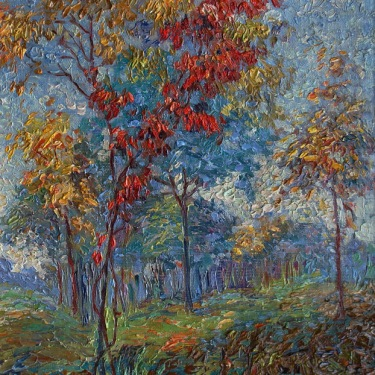 Anna Hills Autumn Trees 14x10 Oil on Board