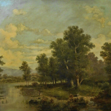 Augustin Lamy Forest Clearing 29x39 Oil on Canvas