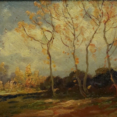 B Major Autumn Trees 6x8 Oil on Board