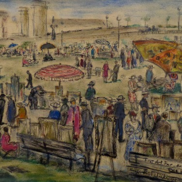 Bea Levy First Art Fair 1932 7x10 Mixed Media