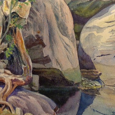 Ben Carre Twisted Trunk Tahquitz Canyon Palm Springs 10x15 Watercolor