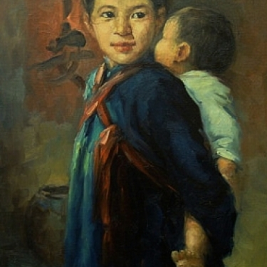 Chinese Sister and Brother by C K Han 24x35 Oil Painting