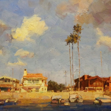 Calvin Liang Newport Beach Houses 18x24 Oil on Board