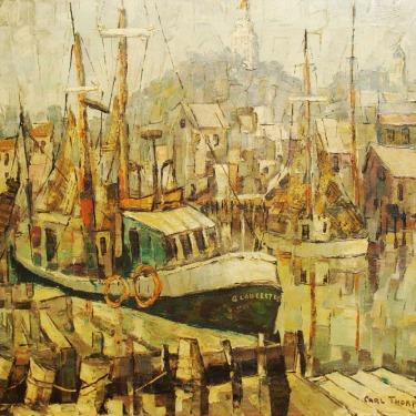 Carl Thorp Gloucester from Italian Docks 20x24 Oil on Canvas