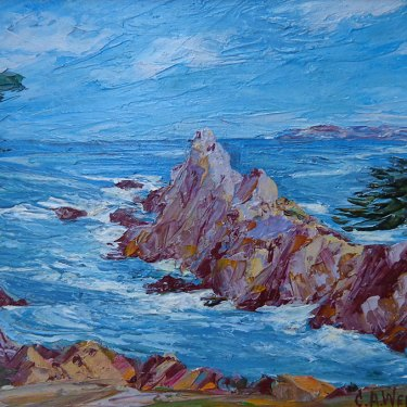 Charles A Weigel Pinnacle Rock Monterey 8x10 Oil on Board