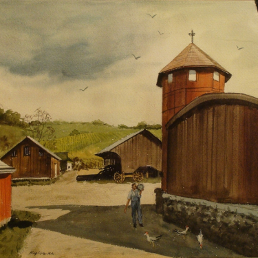 Charles Kinghan In a Barnyard 20x24 Watercolor