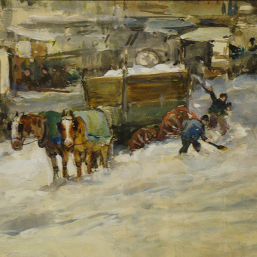 Charles P. Gruppe After the Blizzard 10x15 Watercolor