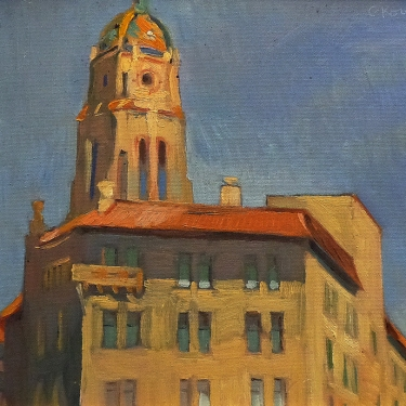 Chuck Kovacic Courthouse Tower 11x14 Oil on Canvas Board