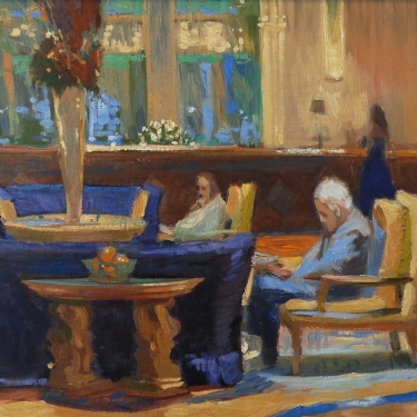 Chuck Kovacic Evening at the Biltmore 14x18 Oil on Board