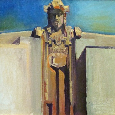 Chuck Kovacic Pantages Figure 12x12 Oil on Board