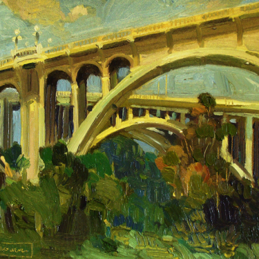 Chuck Kovacic Pasadena Bridges 11x14 Oil on Board