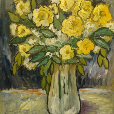 Clarence Hinkle Yellow Roses 20x16 Oil on Board