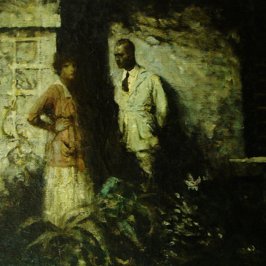 Clark Fay The Converstaion 26x36 Oil on Canvas