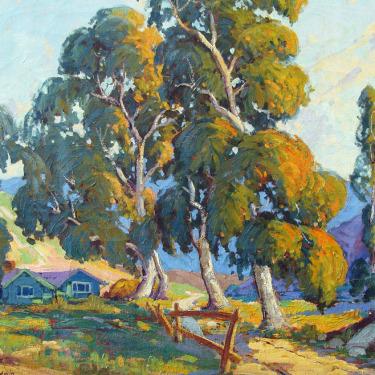 Clifford P Baldwin Houses Amongst the Eucalyptus 20x24 Oil on Canvas