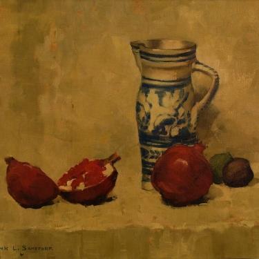 Frank L Sanford Pomegranates and Jug 20x24 Oil on Canvas