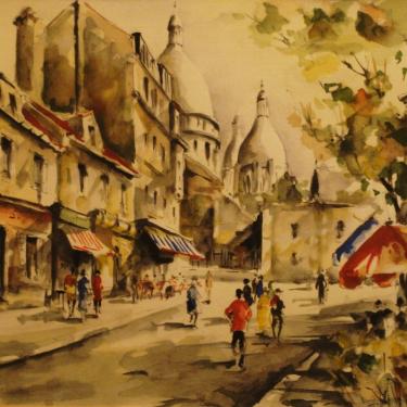 G Lelong French Street Scene 9x11 Watercolor