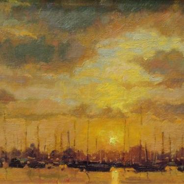 Debra Huse Balboa Harbor Sunset 8x10 Oil on Board
