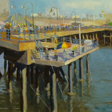 Dick Heimbold Fishing Santa Monica Pier 20x24 Oil