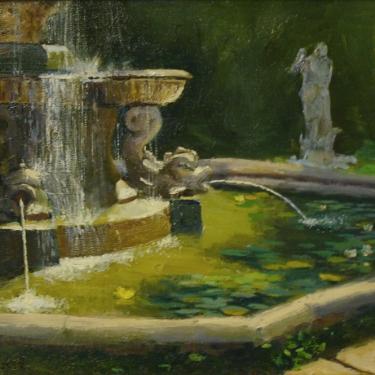 Dick Heimbold Italian Fountain 12x16 Oil on Board