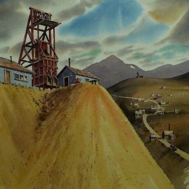 Duane R Light Consolidated Mine Dakota Nevada 30x22 Watercolor