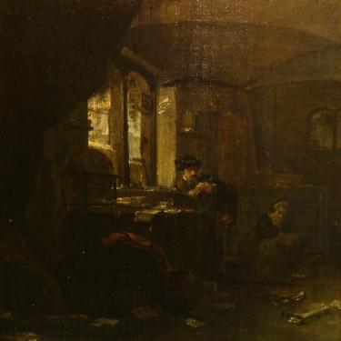 Early 19th Century Interior Dutch School 13x12 Oil on Canvas