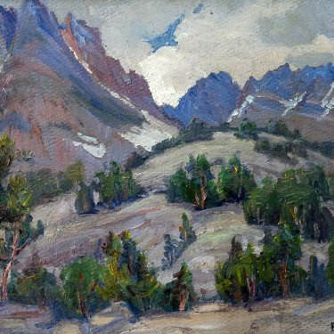 Evylena Nunn Miller Sierra Tree Line 10x14 Oil on Board