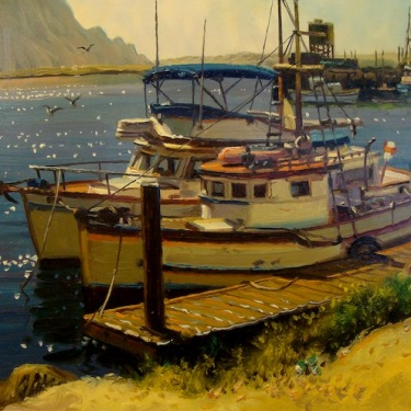 Filastro Mottola Boats at Morro Rock 9x12 Oil