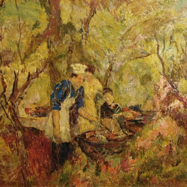 Francis Todhunter The Cookout 20x24 Oil on Board