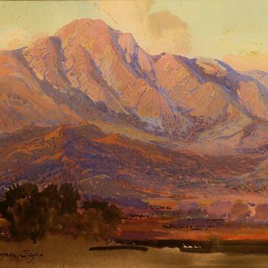 Fred Grayson Sayre Evening Santa Paula Mountains 11x14 Gouache