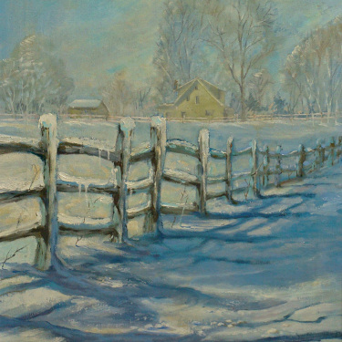 G Landero After a Snow 20x16 Oil on Canvas