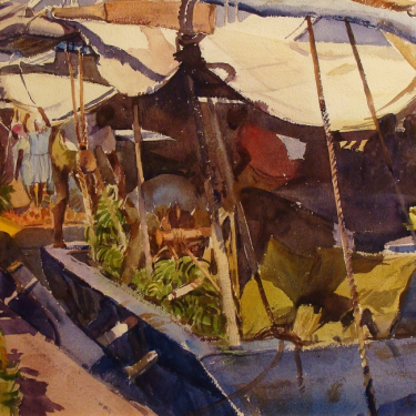 George Gibson Banana Boat 22x30 Watercolor