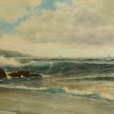 George Howell Gay Coastal Surf 13x22 Watercolor