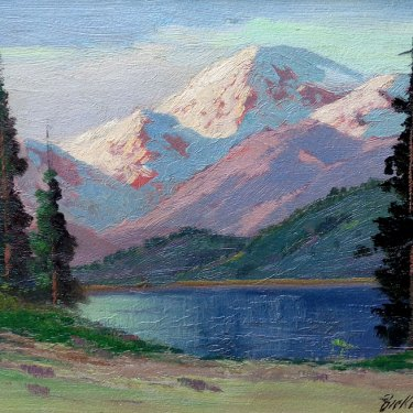 George S Bickerstaff Snow Capped Mountains 12x16 Oil on Board