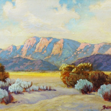 George S Bickerstaff Sunlit Desert Hills 12x16 Oil on Board