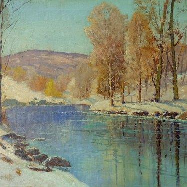 George S Bickerstaff Winter Reflection 24x30 Oil on Canvas