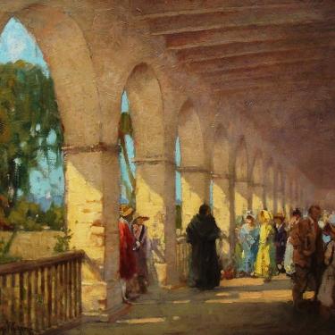 George Thompson Pritchard Gathering at the Mission San Juan Capistrano 25x30 Oil on Canvas