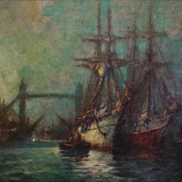 George Thompson Pritchard Tower Bridge London Harbor 25x30 Oil on Canvas