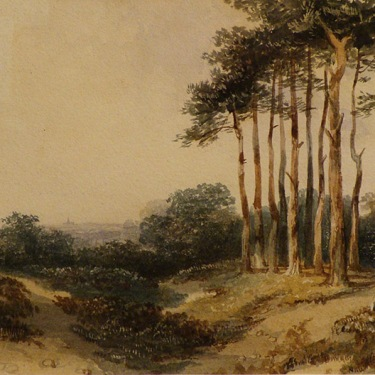 European watercolor by George Sidney Shepard of a landscape, trees and field near Hampstead