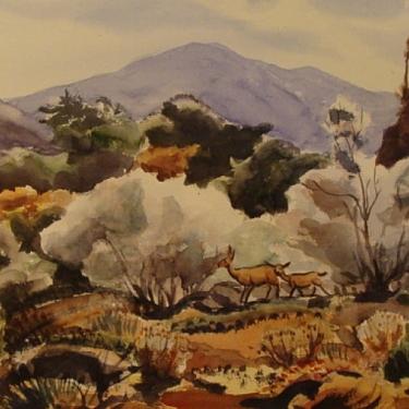 Deer in Autumn Foothills by Jade Fon 14x21 Watercolor