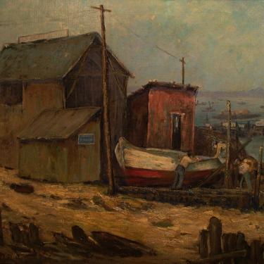 Jessie R Dewitt Fishing Shacks at San Pedro 24x30 Oil on Canvas