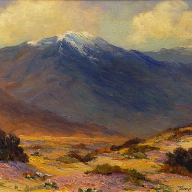Joane Cromwell Desert Flowers and Mt. San Jacinto 12x16 Oil on Board