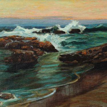 Joe Duncan Gleason Laguna Beach at Sunset 13x18 Oil on Canvas