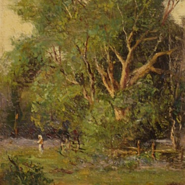 European oil painting by Lorenzo Delleani of a Pastoral Forest Clearing and Woman